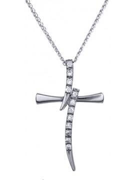 Γυναικείος λευκόχρυσος σταυρός Κ9 με ζιργκόν D012656C D012656C