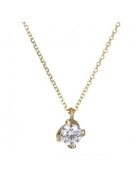 Χρυσό κολιέ με λευκή ζιργκόν πέτρα 14Κ D000898