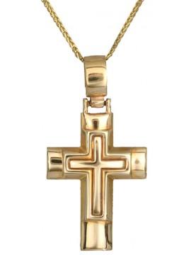 Χρυσός αντρικός σταυρός με καδένα 14Κ D001120C