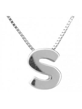 Μονόγραμμα Λευκόχρυσο S με Kαδένα Κ14 D001629