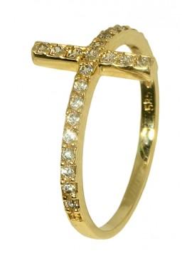 Χρυσό δαχτυλίδι με σταυρό 9Κ D019874 D019874