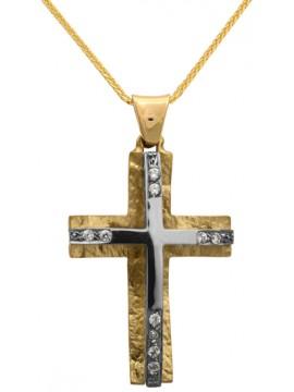 Σταυρός για γυναίκα δίχρωμος 14Κ με αλυσίδα D012290C