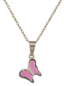 Κολιέ με ροζ πεταλούδα D013116 D013116