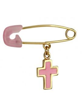 Παιδική χρυσή παραμάνα Κ9 με ροζ σταυρουδάκι D014312 D014312