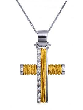 Δίχρωμος 14Κ γυναικείος σταυρός με καδένα D014372C