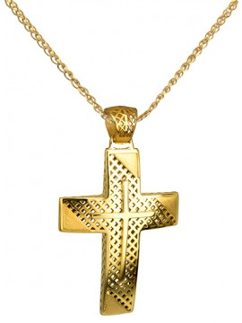 Σταυρός σε χρυσό 14Κ με καδένα D014722C