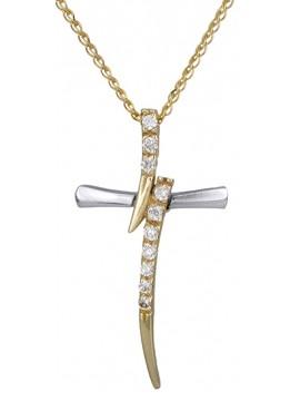 Γυναικείος σταυρός με αλυσίδα 9Κ DC014770 D014770C