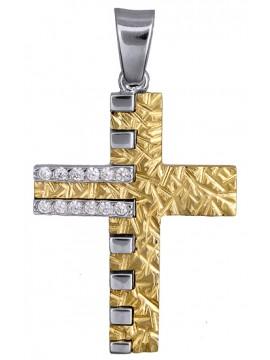 Οικονομικός δίχρωμος ανάγλυφος σταυρός 9Κ με ζιργκόν D015087
