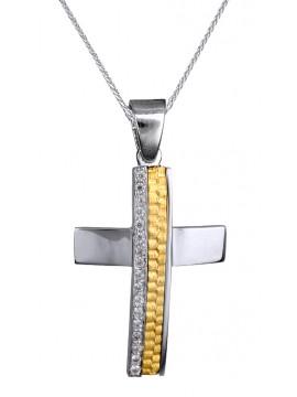 Δίχρωμος σταυρός Κ9 με λευκόχρυση αλυσίδα D015105C