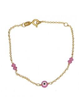 Χρυσό παιδικό βραχιόλι Κ9 με ροζ ματάκι D015774 D015774