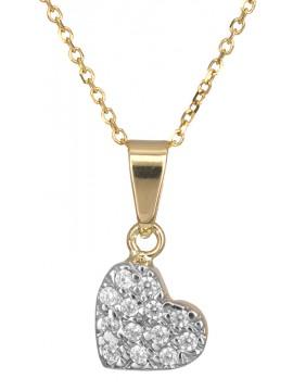 Χρυσό κολιέ 14K με μοτίφ πετράτη καρδούλα D016448 D016448