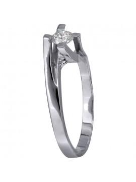 Μονόπετρο λευκόχρυσο δαχτυλίδι με μπριγιάν Κ18 D028056 D028056