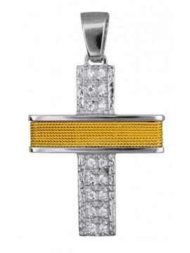 Δίχρωμος πετράτος σταυρός με σύρμα 14 καρατίων D016578