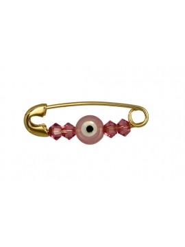 Χρυσή παραμάνα Κ9 με ροζ ματάκι D018871 D018871