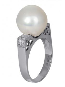 Δαχτυλίδι με μαργαριτάρι και διαμάντια Κ18 D016844