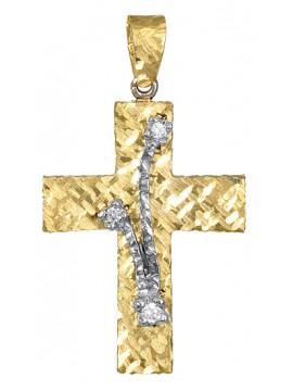 Γυναικείος δίχρωμος σταυρός διπλής όψης D017376 D017376