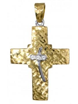 Δίχρωμος γυναικείος σταυρός K14 σε σχέδιο διπλής όψεως D017383 D017383