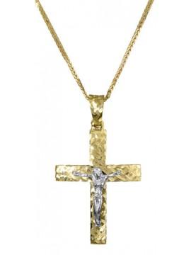 Δίχρωμος διπλής όψεως σταυρός για αγόρι 14Κ με αλυσίδα D017384C