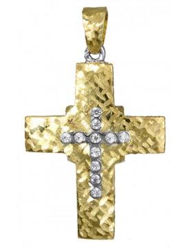 Γυναικείος δίχρωμος σταυρός διπλής όψης D017388 D017388