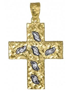 Δίχρωμος γυναικείος σταυρός 14K σε σχέδιο διπλής όψεως D017389 D017389