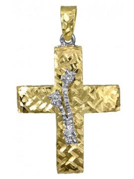 Δίχρωμος γυναικείος σταυρός 14Κ με διπλής όψεως σχέδιο D017390 D017390
