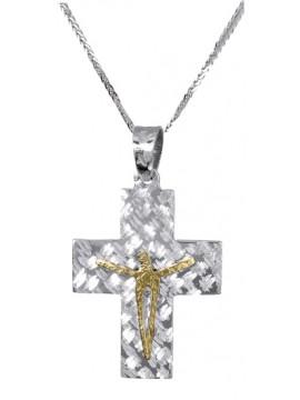 Ανδρικός δίχρωμος σταυρός διπλής όψεως D017400C