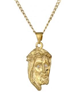 Φυλαχτό χρυσό με την κεφαλή του Χριστού 14Κ DC017489