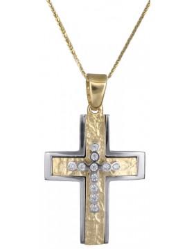Γυναικείος δίχρωμος σταυρός ανάγλυφος με καδένα 14Κ DC017901
