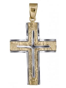 Σταυρός ανδρικός δίχρωμος ανάγλυφος 14Κ D017932