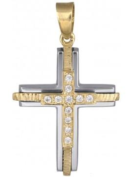 Δίχρωμος γυναικείος σταυρός 14Κ D018234 D018234