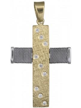 Μοντέρνος γυναικείος σταυρός 14Κ με σύρμα D018431 D018431