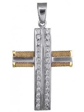 Γυναικείος δίχρωμος σταυρός με σύρμα 14Κ D018434 D018434