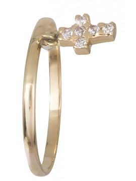 Χρυσό 14κ γυναικείο δαχτυλίδι με σταυρουδάκι D019188 D019188