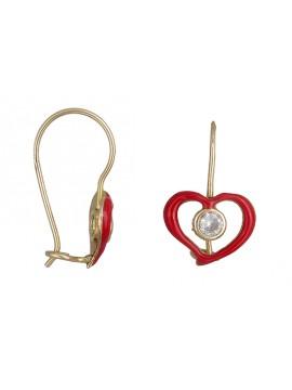 Παιδικά 14Κ σκουλαρίκια καρδιά D019231