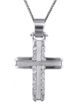 Λευκόχρυσος σταυρός με ζιργκόν & καδένα 14Κ D019303C