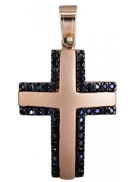 Σταυρός σε ροζ χρυσό Κ14 με μαύρες ζιργκόν πέτρες D020136