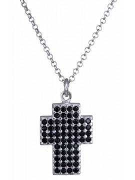 Ασημένιος σταυρός με μαύρες ζιργκόν 925 D020875 D020875