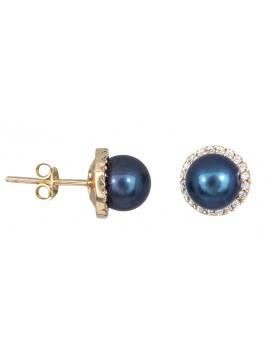 Χρυσά σκουλαρίκια με μαύρο μαργαριτάρι και πέτρες Κ14 D021013