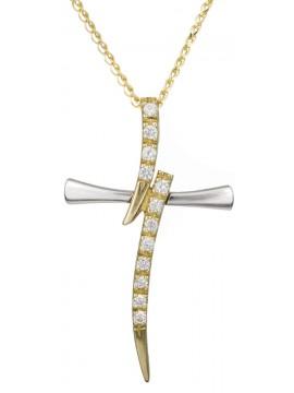 Γυναικείος μοντέρνος σταυρός 9 καρατίων με αλυσίδα D021374C D021374C
