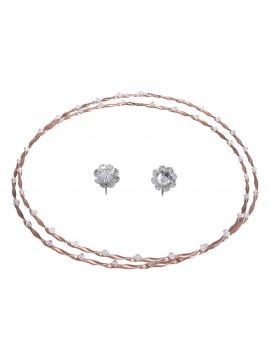 Ροζ επιχρυσωμένα στέφανα γάμου 925 με πέτρες D021545 D021545