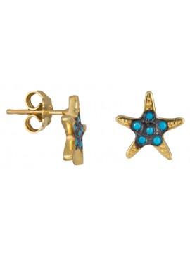 Επίχρυσα σκουλαρίκια αστερίας 925 με τυρκουάζ πέτρες D022926
