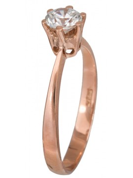 Κλασικό μονόπετρο δαχτυλίδι από ροζ χρυσό Κ14 D023090 D023090
