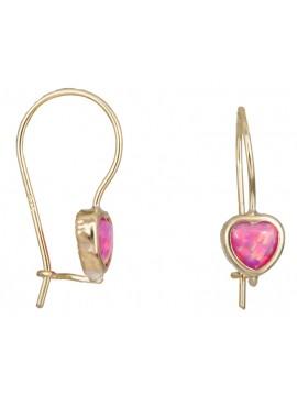 Παιδικά χρυσά σκουλαρίκια Κ14 καρδούλες D031371 D031371