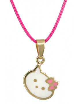 Χρυσή Kitty 9 Καρατίων σε ροζ κορδόνι D023551 D023551