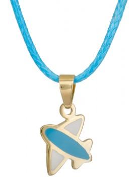 Χρυσό αεροπλανάκι 9 Καρατίων σε γαλάζιο κορδόνι D023554 D023554