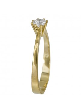 Διαχρονικό μονόπετρο δαχτυλίδι με ζιργκόν από χρυσό 14Κ D023828 D023828