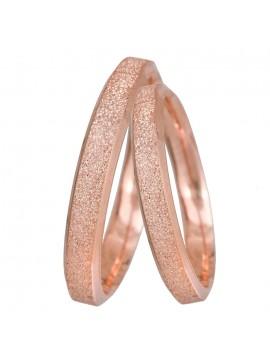 Ροζ χρυσές βέρες Κ14 με διαμαντάρισμα D024064 D024064
