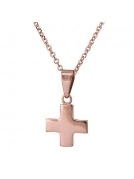 Ροζ gold λουστρέ σταυρουδάκι με αλυσίδα Κ14 D024142C D024142C