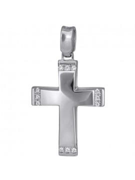 Λευκόχρυσος γυναικείος σταυρός διπλής όψεως Κ14 D024192
