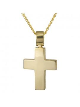 Κλασικό χρυσός σταυρός λουστρέ Κ14 με αλυσίδα D024269C D0024269C